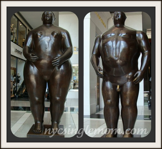 Fernando Botero's Adam and Eve Statutes at Time Warner Center NYC