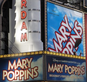 Mary Poppins Billboard, Julie Andrews, Broadway Shows, half price broadway tickets, Marvin Hamlish, TKTS, City Pass
