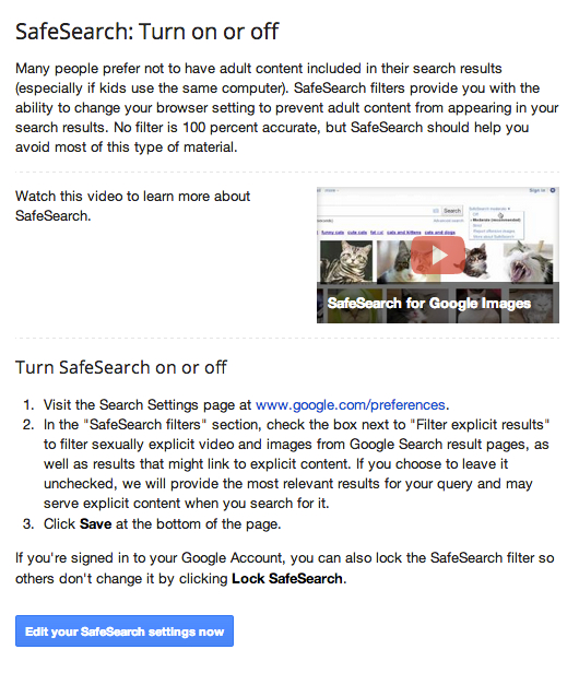 how to turn on safesearch in google and youtube