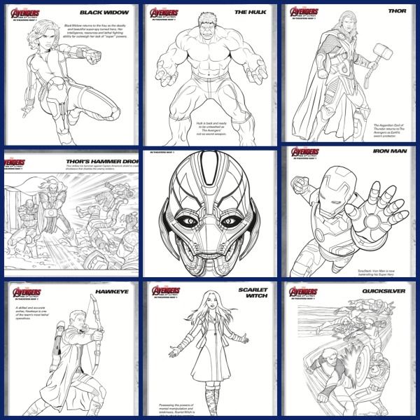 Avengers Age of Ultron FREE Downloadable Coloring Sheets