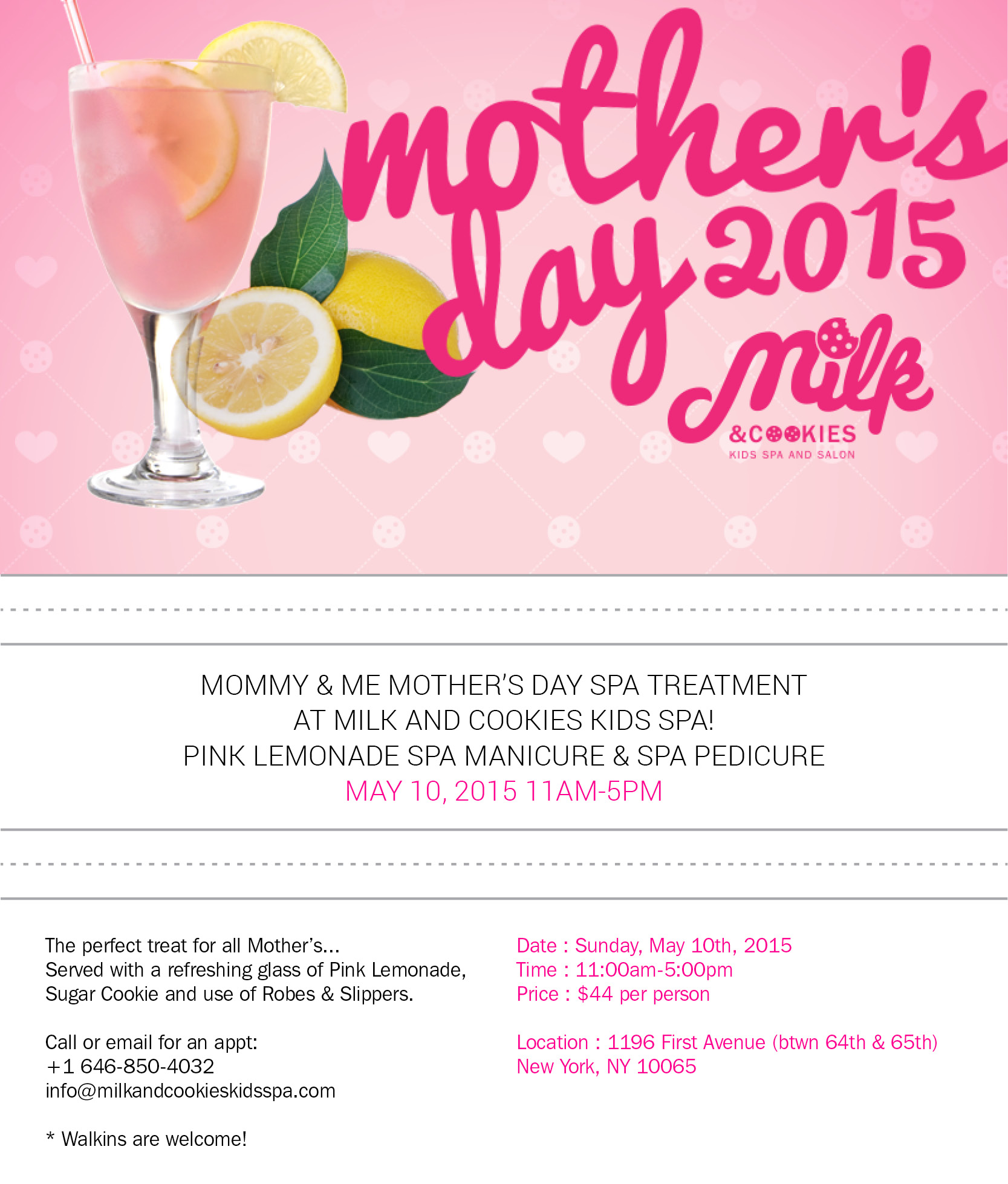 Milk and Cookies Spa Mother's Day Event