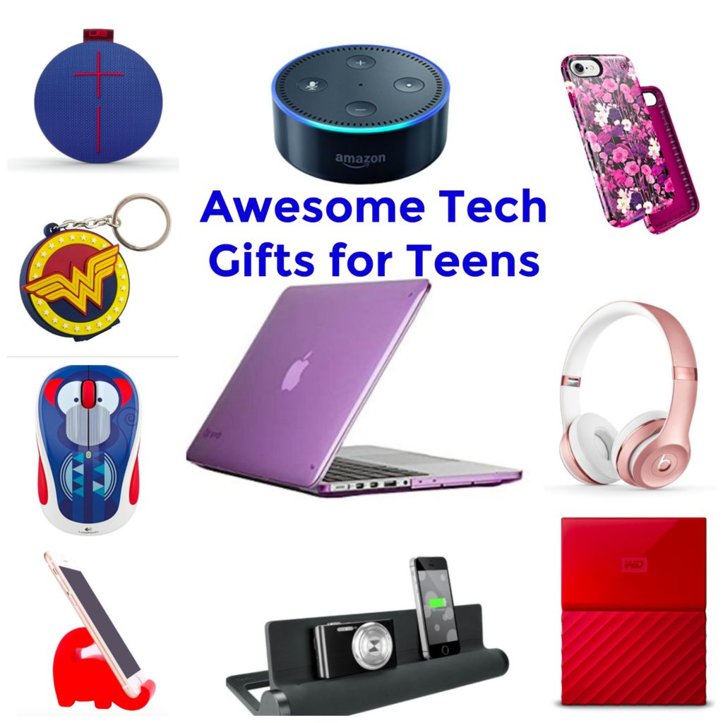 Colorful collage of the Best Tech Gifts for Teens